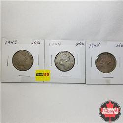 Canada Twenty Five Cent - Strip of 3: 1943; 1944; 1945