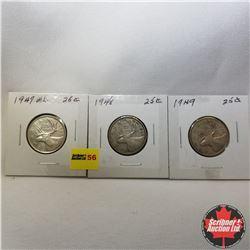 Canada Twenty Five Cent - Strip of 3: 1947ML; 1948; 1949