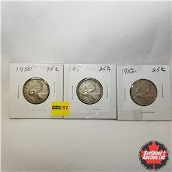 Canada Twenty Five Cent - Strip of 3: 1950; 1951; 1952