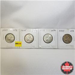 Canada Twenty Five Cent - Strip of 4: 1953; 1955; 1956; 1957