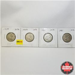 Canada Twenty Five Cent - Strip of 4: 1958; 1959; 1960; 1961