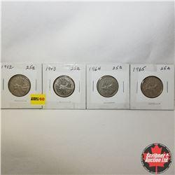 Canada Twenty Five Cent - Strip of 4: 1962; 1963; 1964; 1965