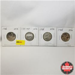 Canada Twenty Five Cent - Strip of 4: 1966; 1867-1967; 1968; 1968