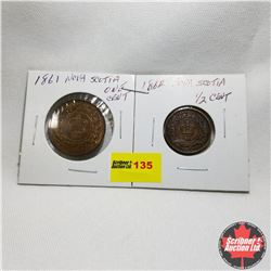 Nova Scotia - Strip of 2: One Cent 1861 & Half Cent 1864