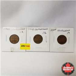Newfoundland One Cent - Strip of 3: 1942; 1943; 1944