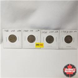 USA Five Cent - Strip of 4 : 1936; 1936D; 1937; 1937D