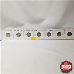 USA Five Cent - Strip of 7 : 1939; 1940; 1941S; 1942; 1947S; 1949D; 1954D
