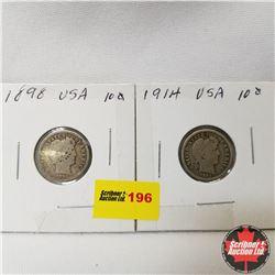 USA Ten Cent - Strip of 2 : 1898; 1914