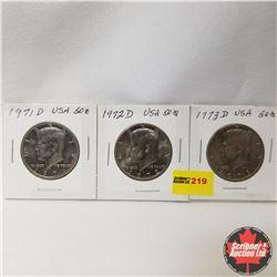 USA Fifty Cent - Strip of 3 : 1971D; 1972D; 1973D