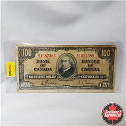 Canada $100 Bill 1937 (Gordon/Towers S/N#BJ1587388)