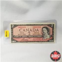 Canada $2 Bill 1954 (Bouey/Rasminsky S/N#KG9691518)