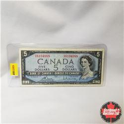 Canada $5 Bill 1954 (Bouey/Rasminsky S/N#UX6194988)