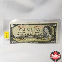 Canada $20 Bill 1954 (Beattie/Coyne S/N#JE4655545)