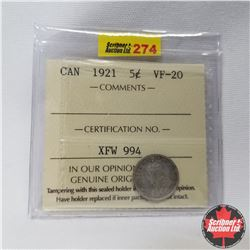"""Canada Five Cent 1921 (ICCS Cert. VF-20)  """"Prince of Coins"""""""