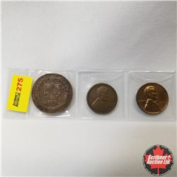 Strip of 3 Coins: Canada 1867-1927 Confederation Token & US One Cent  : 1919S; 1939