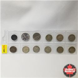 Canada Coins - Strip of 12 : Five Cent 1911; 1944; 1951 Ten Cent: 1940; 1958; 1960; 1961; 1962; 1964