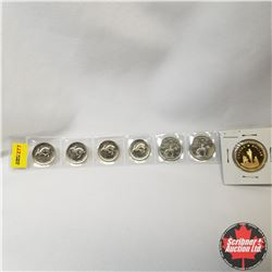 Canada Coins - Strip of 7 Coins : Five Cent 1867-1967 (4); Twenty Five Cent 1873-1973 (2); Loonie 19