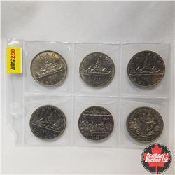 Canada One Dollar - Sheet of 6: 1968; 1975; 1981; 1982; 1867-1982; 1970 Manitoba