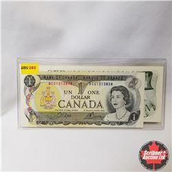 Canada $1 Bills 1973 Sequential (2) (Crow/Bouey BCU1313858-9)