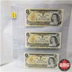 Canada $1 Bills 1973 Sequential (3) (Crow/Bouey BAL5872740-41-42)
