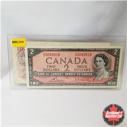 Canada $2 Bills 1954 (Bouey/Rasminsky S/N#GG5049918) & 1974 (Lawson/Bouey S/N#RC8910851)