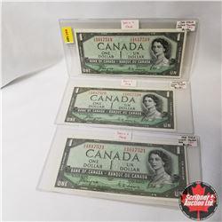 Canada $1 Bills 1954DF Sequential (3) (Coyne/Towers S/N#GA1617519-20-21)