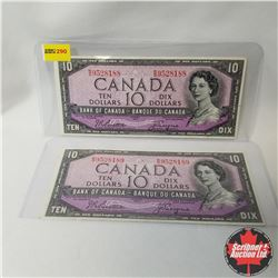Canada $10 Bills 1954 Sequential (2) (Beattie/Coyne S/N#RD9528188-89)