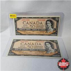 Canada $50 Bills 1954 Sequential (2) (Beattie/Rasminsky S/N#BH4561866-68)