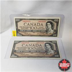 Canada $100 Bills 1954 : Sequential (2) (Beattie/Rasminsky S/N#BJ4416825-26)