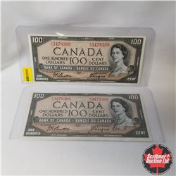 Canada $100 Bills 1954 : Sequential (2) (Beattie/Coyne S/N#AJ3478368-69)