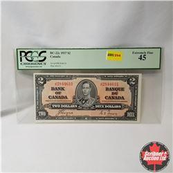 Canada $2 Bill 1937 (PCGS Cert. EF45) (Coyne/Towers S/N#JR2844631)