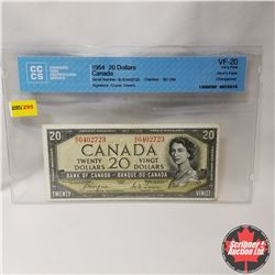 """Canada $20 Bill 1954 DF (CCCS Cert. VF20 """"Changeover"""") (Coyne/Towers S/N#BE0402723)"""