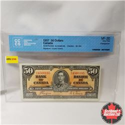 """Canada $50 Bill 1937 (CCCS Cert. VF-20 """"Changeover"""") (Coyne/Towers S/N#BH4560195)"""