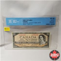 "Canada $50 Bill 1954 DF (CCCS Cert. VF-20 ""Changeover"") (Beattie/Coyne S/N#AH1751210)"