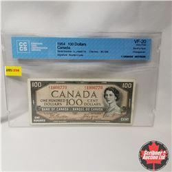 "Canada $100 Bill 1954 DF (CCCS Cert. VF-20 ""Changeover"") (Beattie/Coyne S/N#AJ1906770)"