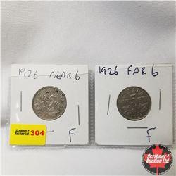 Canada Five Cent - Strip of 2 : 1926 Near 6; 1926 Far 6