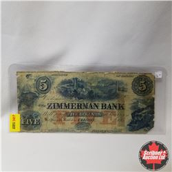 Province of Canada $5 Bill : The Zimmerman Bank