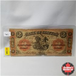 The Bank of Clifton : $2 Bill 1861