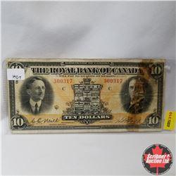 The Royal Bank of Canada : $10 Bill 1927