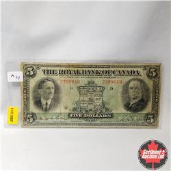 The Royal Bank of Canada : $5 Bill 1927