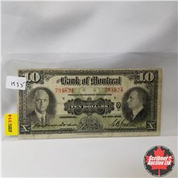 The Bank of Montreal : $10 Bill 1935