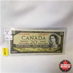 Canada $20 Bill 1954 *Replacement (Beattie/Rasminsky S/N#*AE0130902)