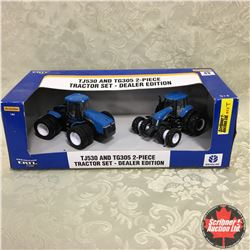 New Holland TJ530 & TG305 2 Piece Tractor Set, Dealer Edition (Scale: 1/64)