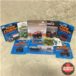 Tray Lot: Variety of Tractors, Trucks, Implements (Scale: 1/64)