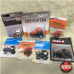 Box Lot: Variety of 5.Tractors & 2 Round Balers (Scale: 1/64)