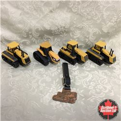 CAT Variety of 4 Tractors & Watch Fob (Scale: 1/64)
