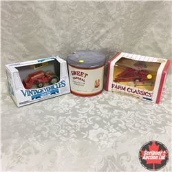 Combo: Ford 8N, Corn Picker & Sweet Caporal Tobacco Tin (Scale 1/43)