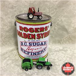 Combo: Deutz Allis Tractor/Baler, Hesston Tractor & Rogers Syrup Tin (Scale 1/64)