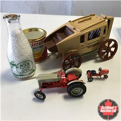 Box Lot: Futuristic Stagecoach, Pedal Tractor Collectible, Squirrel Peanut Butter Tin, Milk Bottle &
