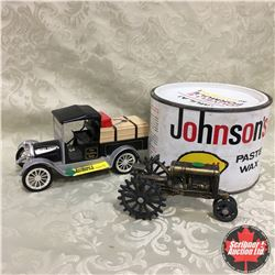 Combo: Model T Bank, Johnson's Paste Wax Tin & Tractor Ornament